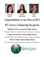 WTS & WTRT Scholarship Recipients 2015